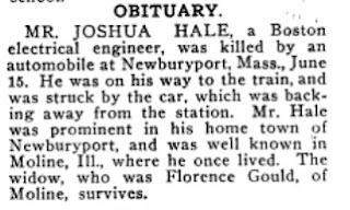 Joshua Hale Obit circa 1911