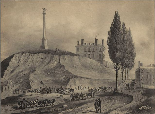 Lithograph of workers cutting down Beacon Hill behind the State House by J.H. Bufford & Co circa 1898