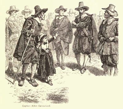 """Captain Alden Denounced,"" illustration published in A Popular History of the United States, Vol 2, circa 1878"