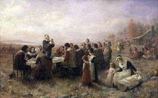 """First Thanksgiving at Plymouth"" oil painting by Jennie A. Brownscombe, circa 1914"