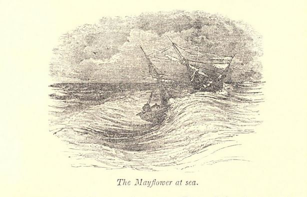 """""""Mayflower At Sea."""" Illustration published in Pictorial History of the United States circa 1852"""