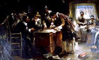 """Signing the Mayflower Compact,"" oil painting by Edward Percy Moran, circa 1900"