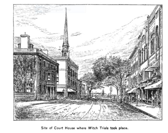 """Site of Court House Where Witch Trials Took Place,"" illustration published in the New England Magazine, Volume 5, circa 1892"