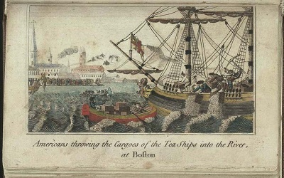 Boston Tea Party, engraving, WD Cooper, circa 1789, 400 x 250