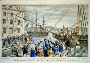 Destruction of tea at Boston Harbor lithograph by N. Currier circa 1846