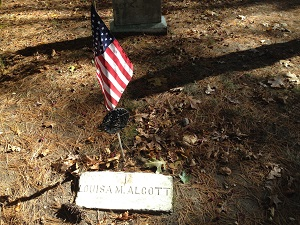 Louisa May Alcott's grave in Sleepy Hollow Cemetery in Concord, Mass. Photo Credit: Rebecca Brooks