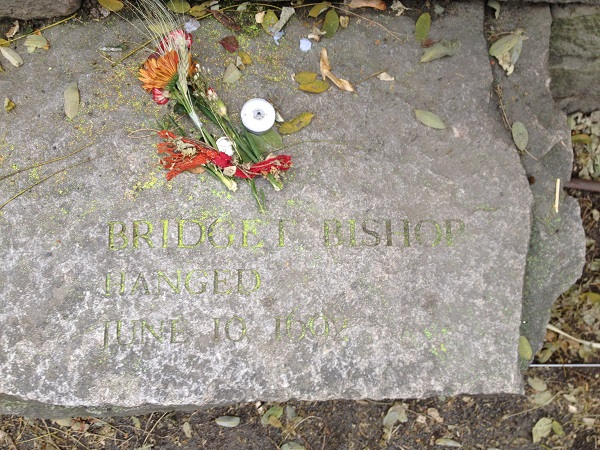 Bridget Bishop's Memorial Marker, Salem Witch Trials Memorial, Salem Mass, November 2015. Photo Credit: Rebecca Brooks