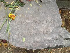 John Proctor's Memorial Marker, Salem Witch Trials Memorial, Salem Mass, November 2015. Photo Credit: Rebecca Brooks