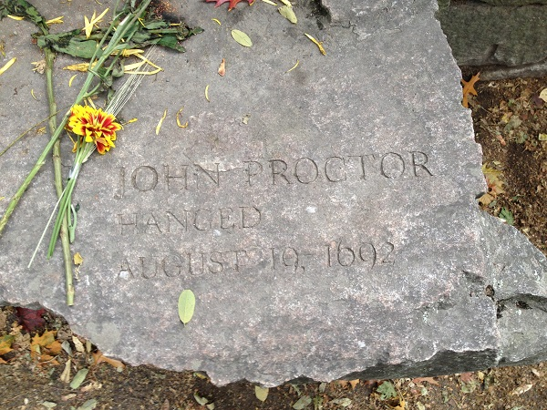 john proctor first male accused witch of the m witch trials  john proctor s memorial marker m witch trials memorial m mass 2015