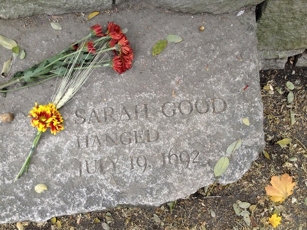 Sarah Good's Memorial Marker, Salem Witch Trials Memorial, Salem Mass, November 2015. Photo Credit: Rebecca Brooks