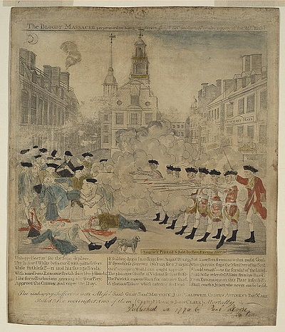 """The Bloody Massacre Perpetrated in King Street, Boston on March 5th 1770 by a Party of the 29th Regt,"" engraving of the Boston Massacre by Paul Revere, circa 1770"