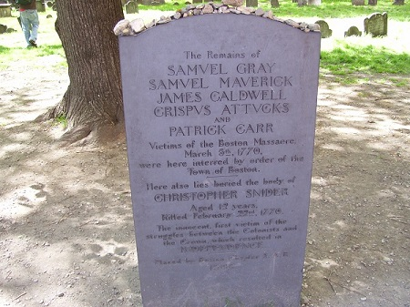 Boston Massacre victims grave, Granary Burying Ground, Boston, Mass. Photo Credit Rebecca Brooks