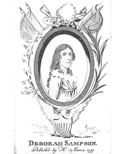 Deborah Sampson, illustration published in the Female Review, circa 1797