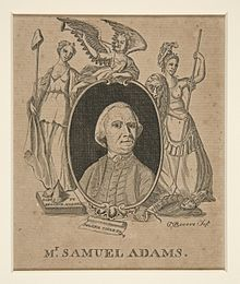 Engraving of Samuel Adams by Paul Revere published in Royal American Magazine in 1774
