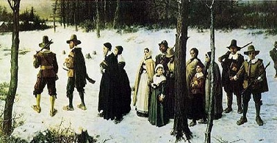 Pilgrims Going to Church, oil painting by George Henry Boughton, circa 1867