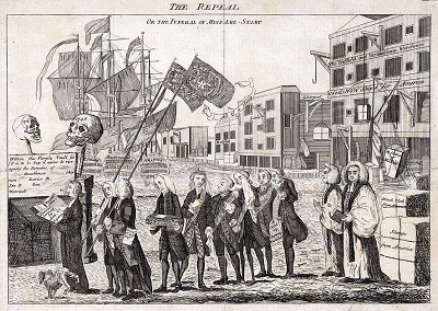 """The Repeal, or the Funeral Procession, of Miss America Stamp"" cartoon depicting the repeal of the Stamp Act circa 1766. The coffin is carried by George Grenville, who is followed by Bute, the Duke of Bedford, Temple, Halifax, Sandwich, and two bishops."