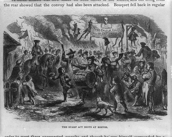 The Stamp Act Riots in Boston, illustration published in The youths' history of the United States from the discovery of America