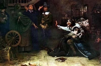 """Accused of Witchcraft,"" oil painting by Douglas Volk, circa 1884"
