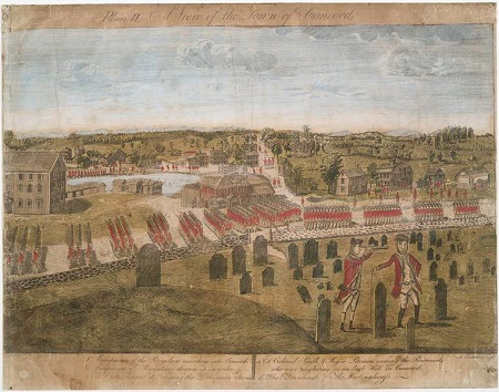 Engraving of the Battle of Lexington and Concord by Amos DoLittle circa 1775