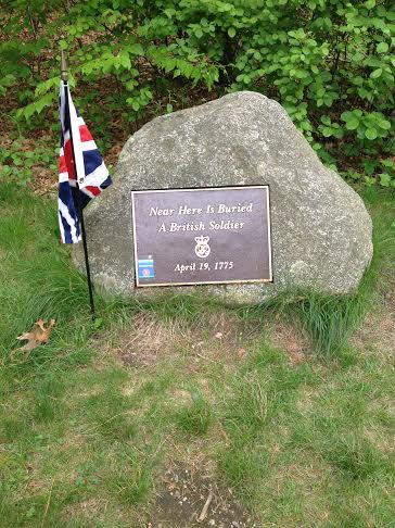 Grave of a British soldier killed in Lexington during the retreat to Boston after the battle of Concord. Located at the Paul Revere Capture Site in Lexington.