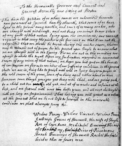 Petition from the accused witches held in Ipswich