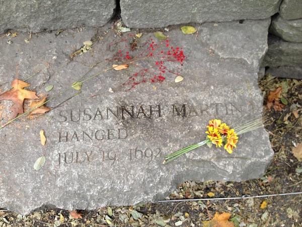 Susannah Martin, Memorial Marker, Salem Witch Trials Memorial, Salem Mass, November 2015. Photo Credit: Rebecca Brooks