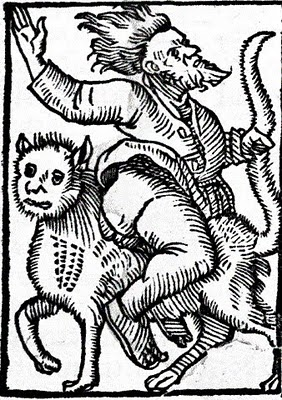Woodcut of a witch riding a cat