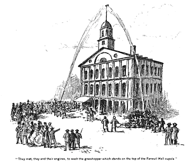 Firemen washing the Faneuil Hall weather vane, illustration, circa 1895