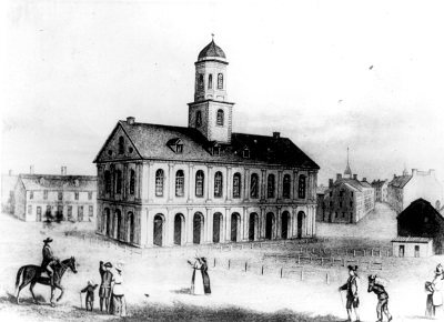 Faneuil Hall, engraving, circa 1789