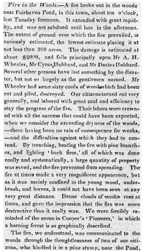 Article in The Concord Freeman about the forest fire set by Henry David Thoreau, circa May 3, 1844
