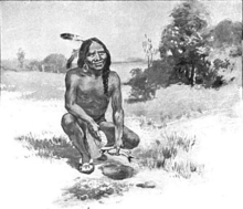 Illustration of Squanto teaching the pilgrims how to plant maize, circa 1911