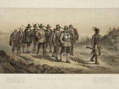 """""""The March of Miles Standish"""" lithograph by Joseph E Baker circa 1873"""