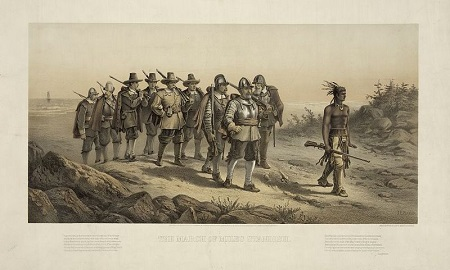 """The March of Miles Standish"" lithograph by Joseph E Baker circa 1873"