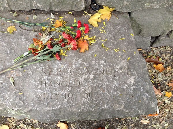 Rebecca Nurse, Memorial Marker, Salem Witch Trials Memorial, Salem Mass, November 2015. Photo Credit: Rebecca Brooks