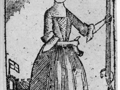 """Woodcut of an armed female combatant from """"A New Touch on the Times"""" circa 1779"""