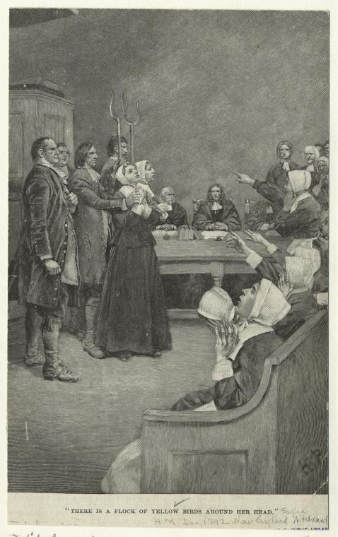 """There is a flock of yellow birds above her head"" Salem Witch Trials illustration by Howard Pyle published in Harper's New Monthly Magazine circa 1893"