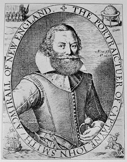 Image of Captain John Smith from his map of New England circa 1616