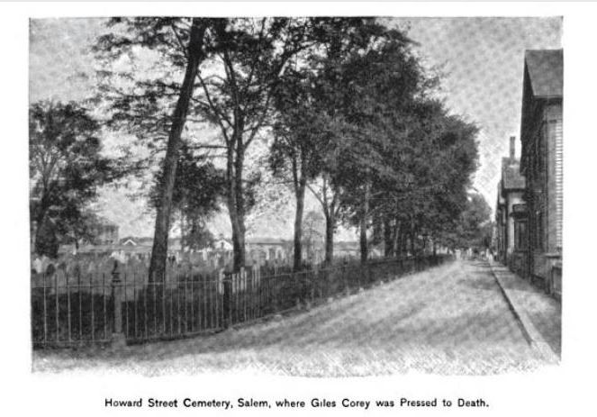 """Howard Street Cemetery, Salem, Where Giles Corey Was Pressed to Death,"" illustration published in the New England Magazine Volume 5, circa 1892"