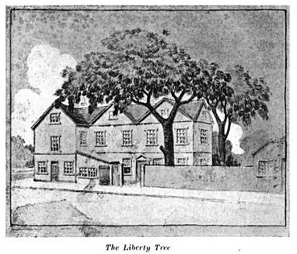"Liberty Tree, illustration published in A. W. Mann's ""Walks & Talks About Historic Boston"", circa 1917"