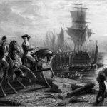 Lord Howe evacuating Boston, engraving by J Godfrey, circa 1861 400 x 259
