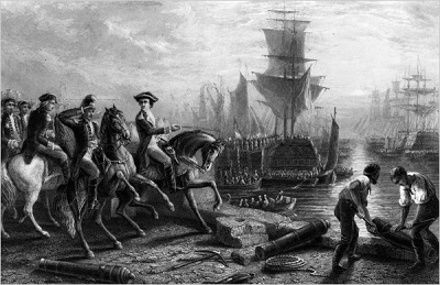 Lord Howe evacuating Boston, engraving by J. Godfrey, circa 1861