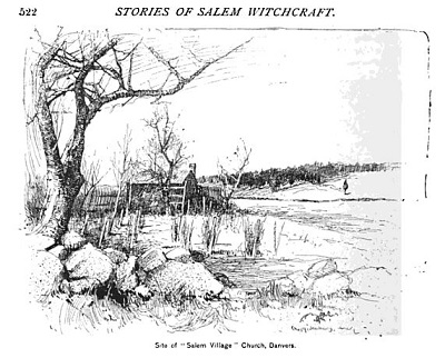 The meetinghouse of the first church in Salem Village, illustration published in the New England Magazine, Volume 5, in 1892