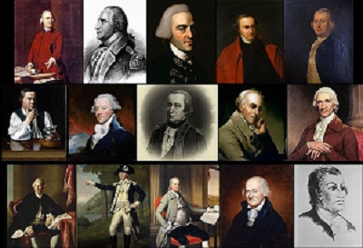 Members of the Sons of Liberty: 1st Row: Samuel Adams • Benedict Arnold • John Hancock • Patrick Henry • James Otis, Jr. 2nd Row: Paul Revere • James Swan • Alexander McDougall • Benjamin Rush • Charles Thomson 3rd Row: Joseph Warren • Marinus Willett • Oliver Wolcott • Christopher Gadsden • Haym Salomon