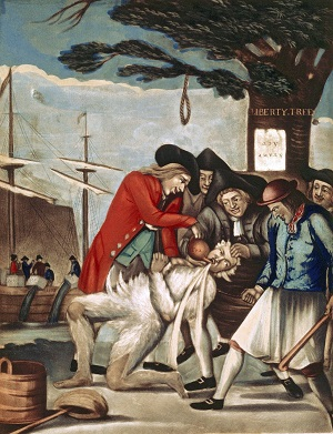 """The Bostonians Paying the Excise-man, or Tarring and Feathering,"" print by Philip Dawe, circa 1774"