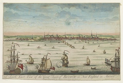 """A South East View of the Great Town of Boston in New England in America,"" etching by John Carwitham, circa 1730-1760"