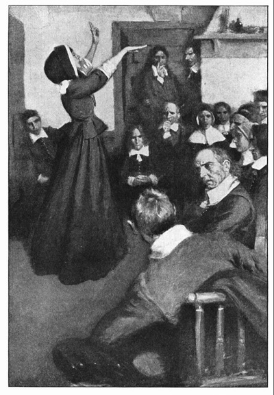"""Anne Hutchinson Preaching in Her House in Boston,"" illustration published in Harper's Monthly, Feb 1901"