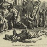 Massacre of Anne Hutchinson, illustration published in A popular history of the United States, circa 1878