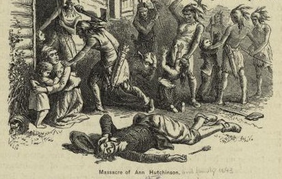 """Massacre of Anne Hutchinson,"" illustration published in A Popular History of the United States, circa 1878"
