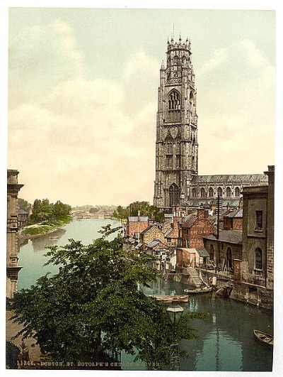 St. Botolph's Church, Boston, England, print circa 1890-1900
