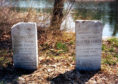 Giles and Martha Corey Memorial Markers, Crystal Lake, Peabody, Mass